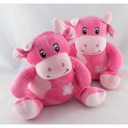 Doudou Hochet Vache rose Arthur et Lola BEBISOL lot de 2