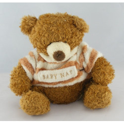 Doudou ours brun pull rayé marron BABY NAT