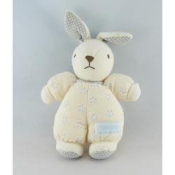 Doudou lapin beige écru fleur vichy bleu NOUNOURS