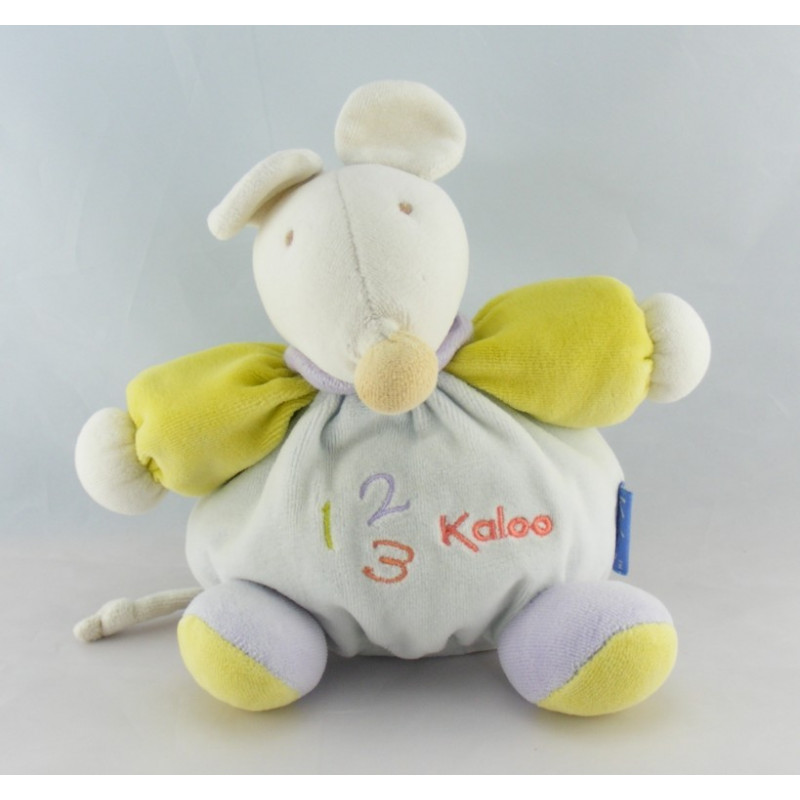 Doudou souris bleu verte mauve 1 2 3 KALOO