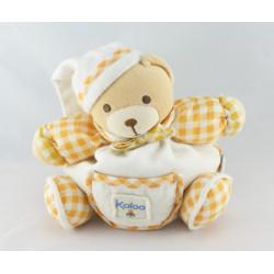 Doudou ours carreaux orange avec bébé KALOO