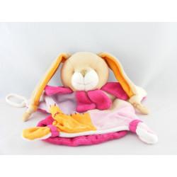 Doudou et compagnie marionnette lapin rose orange maman col fleur