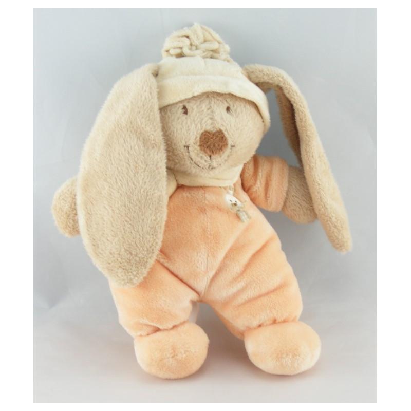 Doudou lapin beige tenue orange bonnet écru ORCHESTRA