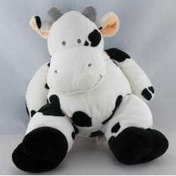 Doudou Vache blanche taches grises Nicotoy