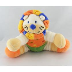 Doudou plat Lion Orange vert jaune bleu NICOTOY
