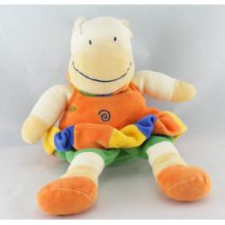 Doudou hippopotame blanc orange vert NICOTOY