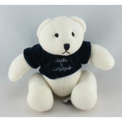 Doudou et Compagnie ours blanc robe bleu marine
