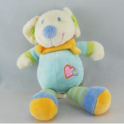 Doudou souris bleu coeur foulard jaune NICOTOY