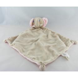 Doudou plat éléphant gris rose AUCHAN