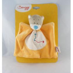 Doudou plat ours gris orange Emile pendule horloge BENGY