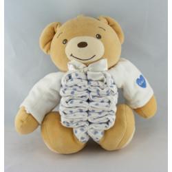 Doudou musical accordéon ours blanc vichy bleu KALOO