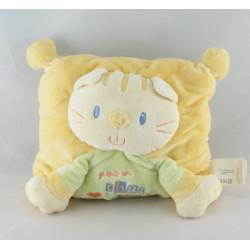 Doudou chat jaune vert je suis un chat comme ça NICOTOY