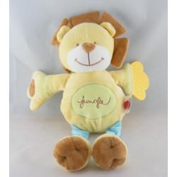 Doudou lion jaune bleu Jungle TEX
