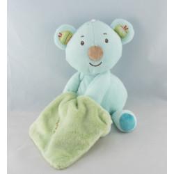 Doudou ours koala bleu Zen avec mouchoir SYSTEME U