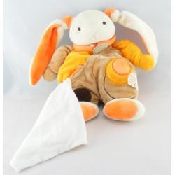 Doudou lapin beige orange mouchoir BABY NAT