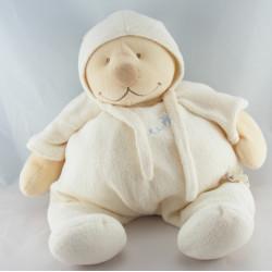 Mini Doudou ours blanc écharpe bleu Tonton NOUKIE'S