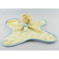 Doudou plat ours bleu jaune foulard orange COMPTINE