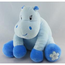 Doudou hippopotame bleu avec grelot arthur et lola BEBISOL