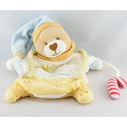 Doudou plat marionnette ours Noé adore les sucreries BABY NAT
