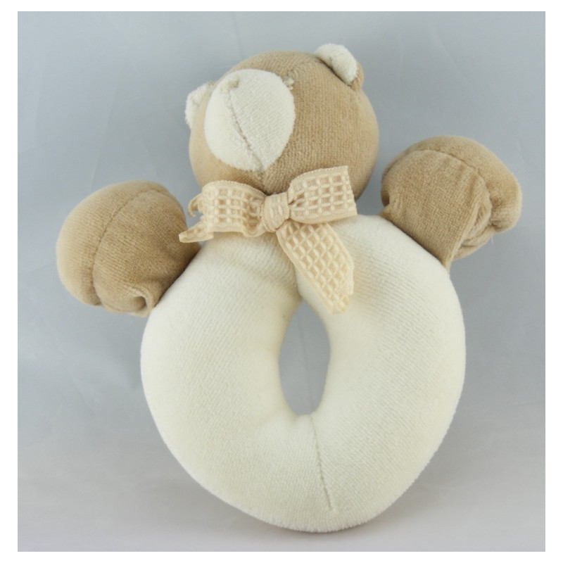 Doudou hochet ours beige écru MOULIN ROTY