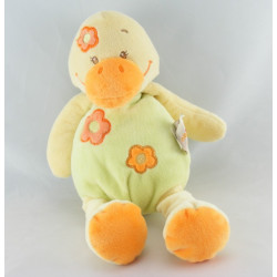 Doudou plat canard vert orange fleur DOUKIDOU