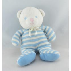 Doudou hochet luminou ours rayé bleu JEMINI