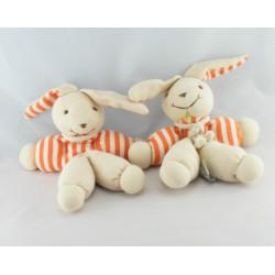 Doudou et compagnie pantin hochet lapin rayé orange