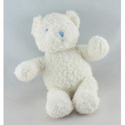 Doudou lapin blanc couture bleu VERTBAUDET