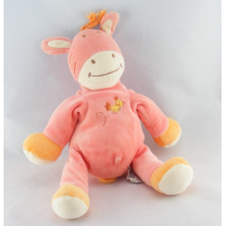Doudou plat vache girafe rose orange oiseau AMTOYS