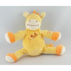 Doudou plat girafe zébre jaune orange oiseau AMTOYS