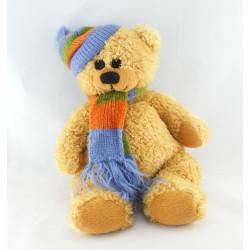 Doudou ours blanc beige bonnet gants écharpe Lucky Bear MAXITA