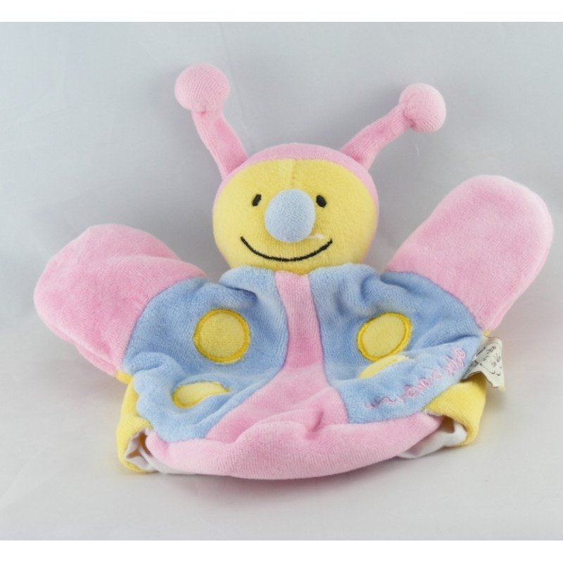 Doudou plat papillon abeille bleu jaune UN REVE DE BEBE