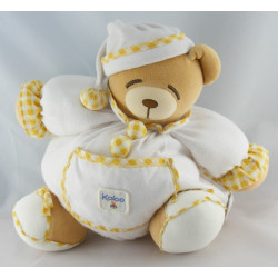 Doudou Ours boule endormi blanc vichy orange KALOO