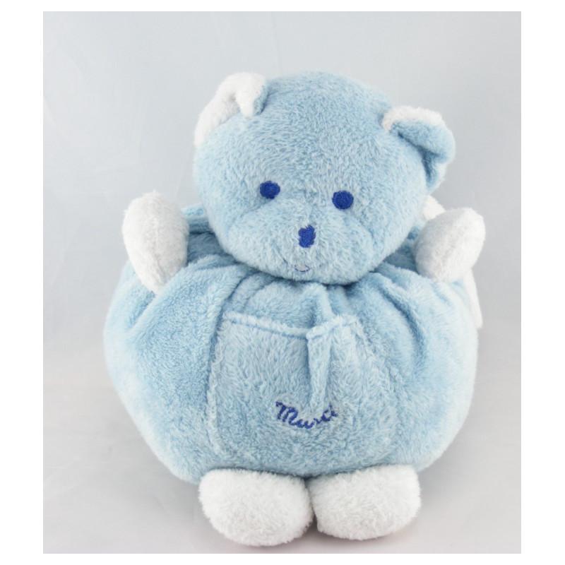Doudou ours  boule bleu Musti de MUSTELA