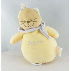 Doudou chat jaune Patou foulard bleu BENGY