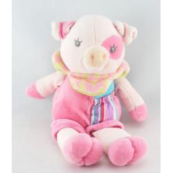 Doudou cochon rose bleu formes ABC Pig EDL
