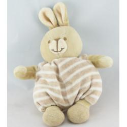 Doudou lapin beige bonnet et salopette rayé NOUNOURS