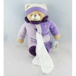 Doudou et compagnie pantin ours violet mouchoir