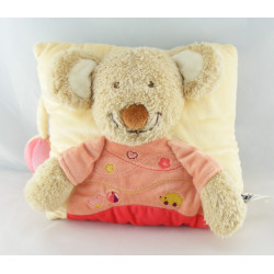 Doudou plat souris rose orange TEX