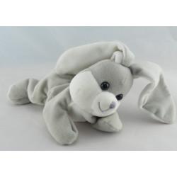 Doudou lapin gris blanc couché GIPSY NEUF