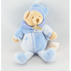 Doudou hochet ours bleu noeuds BABY NAT NEUF