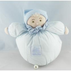 Doudou poupée lutin vichy bleu MOULIN ROTY