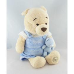 Doudou winnie l'ourson bleu avec hochet et petit ours DISNEY