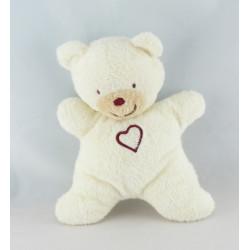 Doudou semi plat ours blanc coeur KIABI