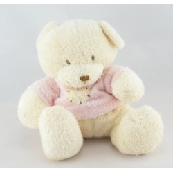 Doudou ours beige pull vert coeur NICOTOY