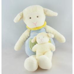 Doudou plat mouton bleu jaune nuage BABY NAT