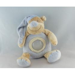Doudou ours beige Tom bonnet bleu coeur DOUKIDOU 30 cm