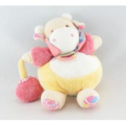 Doudou et compagnie plat vache blanche rose pois mouchoir