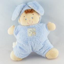 Grand Doudou garçon déguisé en lapin bleu NICOTOY