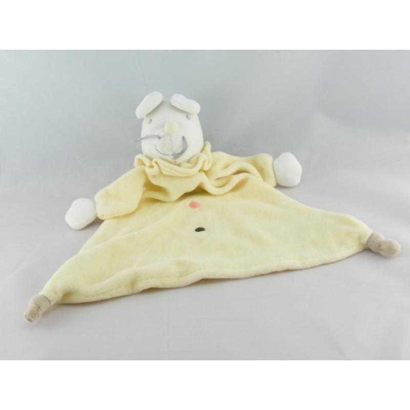 Doudou plat souris blanche et jaune KING BEAR